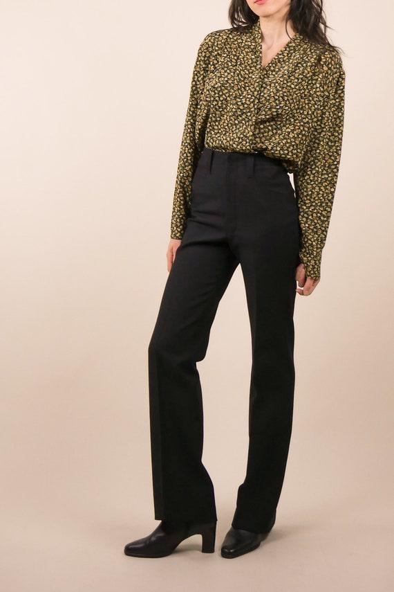 80s micro floral silk blouse / shawl collar blous… - image 2