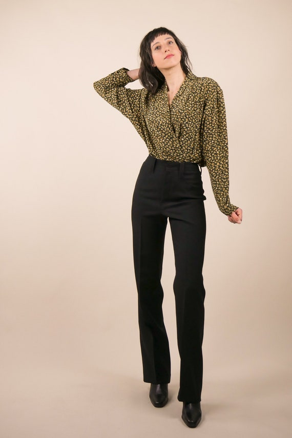 80s micro floral silk blouse / shawl collar blouse