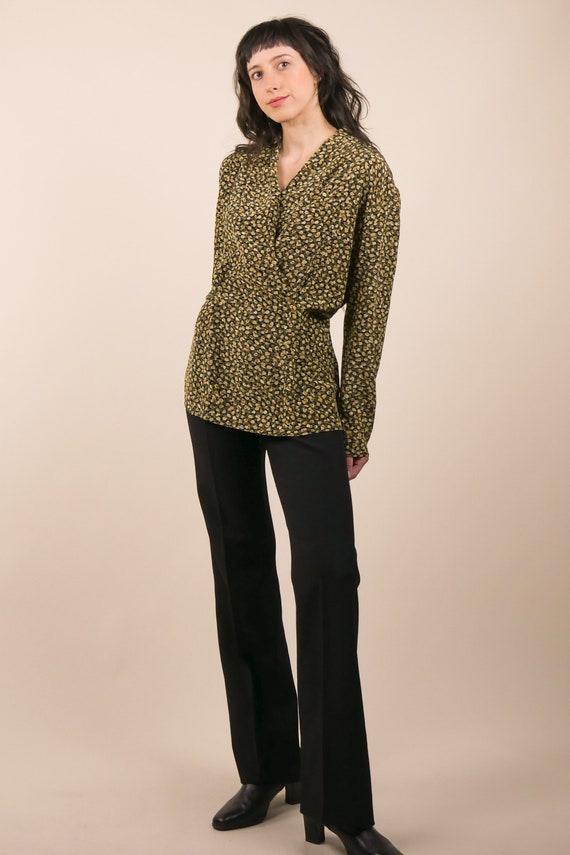 80s micro floral silk blouse / shawl collar blous… - image 5