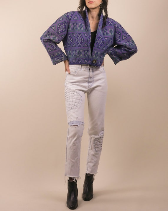 80s geometric tapestry boxy cropped jacket / cotto