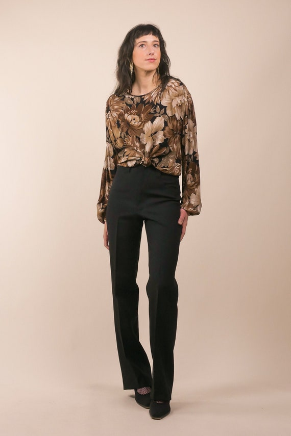 80s dark floral print blouse / bishop sleeve blous