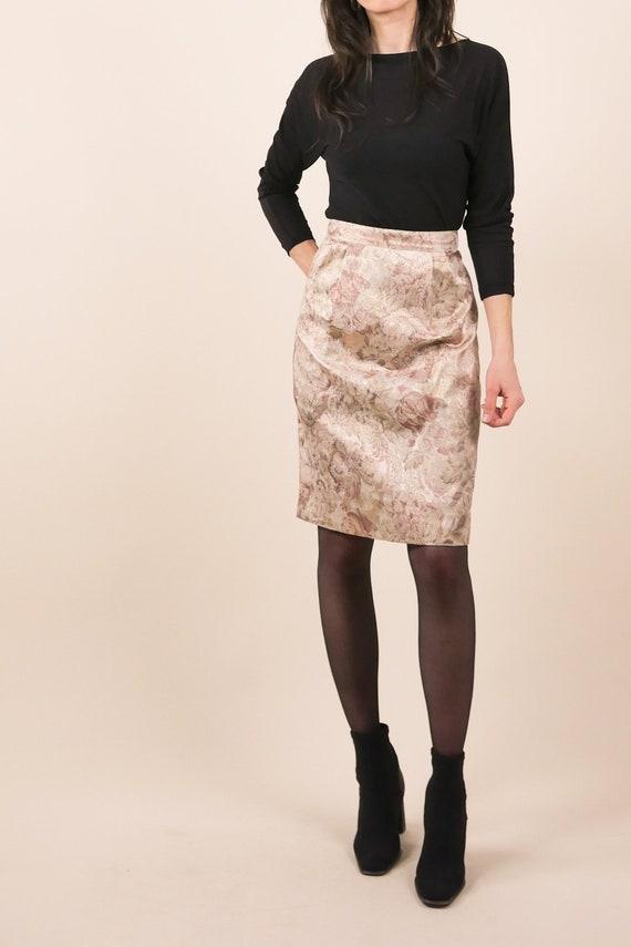 80s metallic floral pencil skirt / large print flo