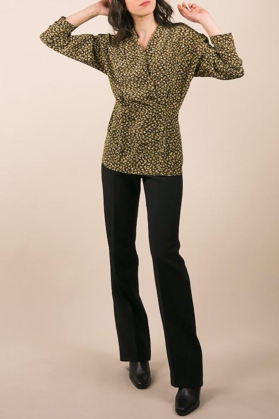80s micro floral silk blouse / shawl collar blous… - image 6