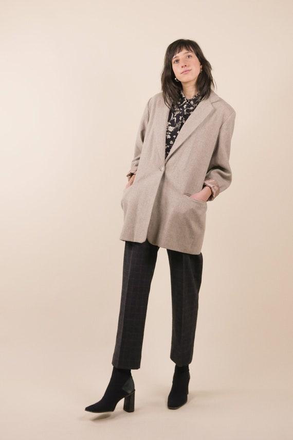 80s minimal wool blazer / neutral boxy blazer / si