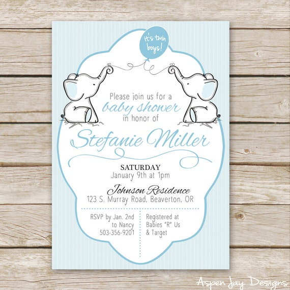 Twin Boys Elephant Baby Shower Invitations Twin Baby Shower Etsy