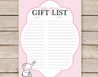 Pink Elephant Baby Shower Gift List - Printable Download - Pink Baby Shower Gift List, Pink Elephant Gift List Tracker