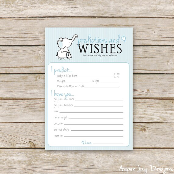 Blue Elephant Baby Shower Wishes For Baby And Baby Etsy