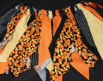 Halloween Tutu, Rag Tutu, Scrappy Skirt, Tutu, Headband, Candy Corn Tutu, Photo Prop, Fabric Tutu, Orange, Yellow, Black, Pumpkins