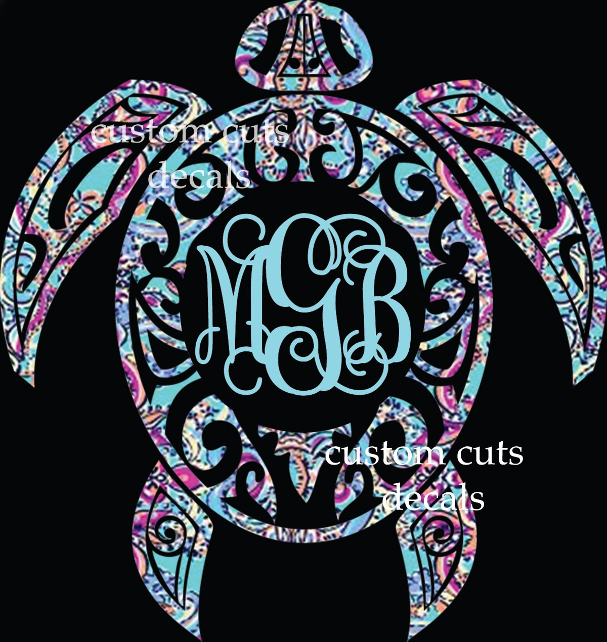 Download Sea turtle decal turtle monogram decal lilly inspired | Etsy