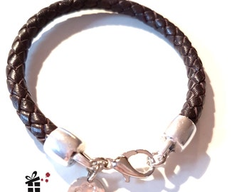 Leather Bracelet ~ Brown silver ~