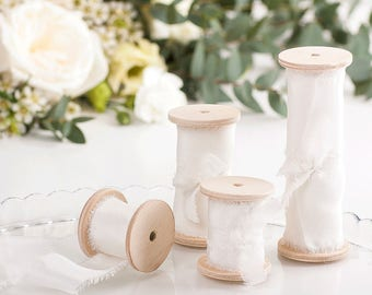 Ivory Silk Ribbon Hand Dyed / 3 yards ribbon on wooden spool / Bouquet ribbon, Wedding decoration - Choose your width