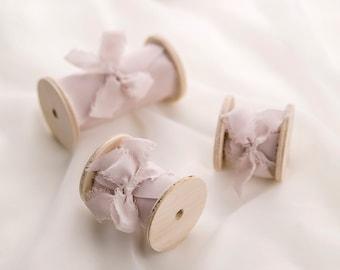 Coral Hand Dyed Silk Ribbon Silk Ribbon for Wedding Bouquets Peach Silk Ribbon on Wooden Spool