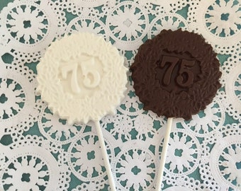 """Number """"75"""" Chocolate Lollipops(12 qty) - 75th Birthday Party - 75th Anniversary Party- 75th Celebration - Number 75 Party Favor-Party Favor"""