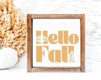 Hello Fall Sign   Mini Sign   Tiered Tray Decor   Kitchen Decor   Autumn Sign   Entryway Decor   Fall Decor
