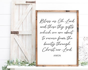 Bless Us Oh Lord Sign - MORE COLOR & SIZES - Inspirational - Christian Art - Meal Prayer - Dining Room Decor