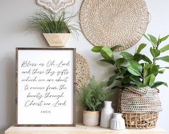 Bless us Oh Lord - Printable - Meal Prayer - Christian Art - Minimalist Decor