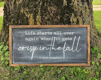 "Fall Wood Sign - 36""x18"" - Crisp in The Fall - Autumn Decor - F. Scott Fitzgerald - MORE SIZES & COLORS"