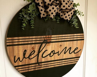 Welcome Round Wood Sign - Door Hanger - MORE COLOR & SIZES - Home Décor - Boho Farmhouse