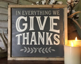 Give Thanks Wood Sign - Home Decor - Farmhouse - Rustic - Thanksgiving - Framed Sign