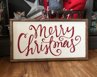 Merry Christmas wood sign - Farmhouse Style - Christmas Decor - Holiday Decor