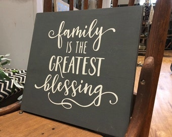 Family Blessing - Wood Sign - Blessing - Handpainted - Home Decor - Neutral Decor - Wall Hanging