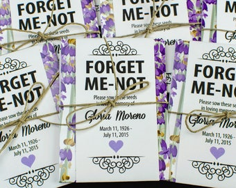 Personalized Memorial Forget-Me-Not Seed Packets in Lavender and Purple