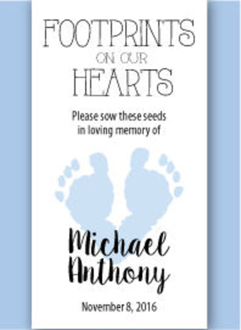 DIY Baby Boy Infant Child Memorial Seed Packet Package \u2013 Footprints On Our Hearts