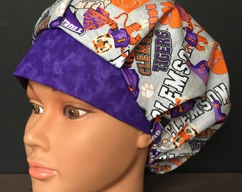 d091428b6298e ... ebay clemson tigers grey and orange bouffant surgical hat ac229 00231
