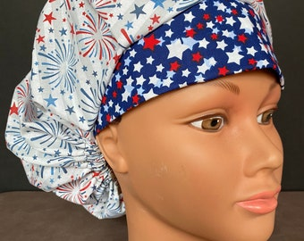 RAINBOW FIREWORKS Surgical Scrub Hat Cap Bouffant Women Ladies Veterinary OR