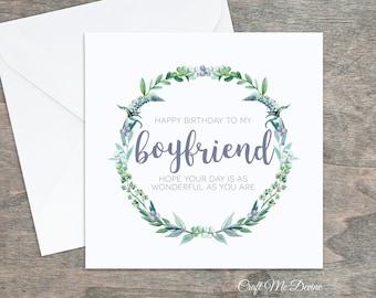 Birthday Card Boyfriend For Him Happy I Love You