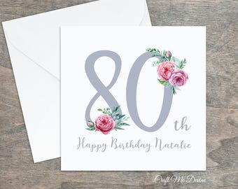 Personalised Birthday Card Happy 80th Eightieth Special For Her Auntie Friend Sister