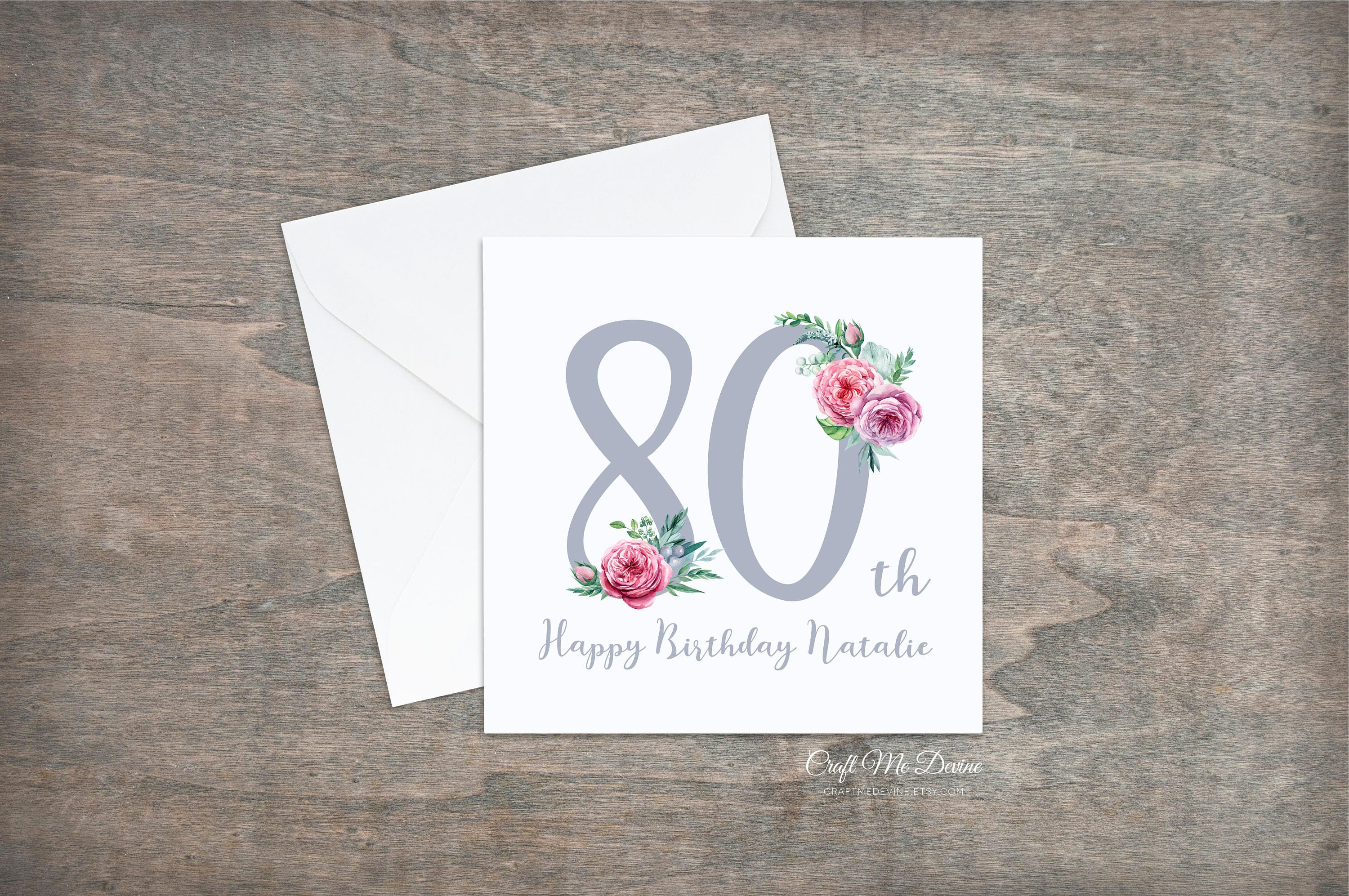 Personalised Birthday Card Happy 80th Eightieth