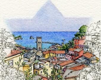 "ORIGINAL Miniature Ink and Watercolour Painting - ""Sunny Monterosso al Mare"" (Cinque Terre, Italy)"