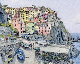 ORIGINAL Ink and Watercolour Painting - Manarola Summer (Cinque Terre, Italy)