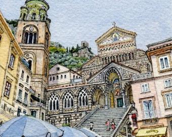 ORIGINAL Miniature Ink and Watercolour Painting - Piazza del Duomo, Amalfi (Italy)