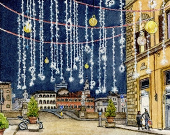 ORIGINAL Miniature Ink and Watercolour Painting - A Sparkly Florence Christmas (Tuscany, Italy)