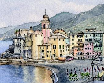 ORIGINAL Miniature Ink and Watercolour Painting - Camogli Morning (Liguria, Italy)