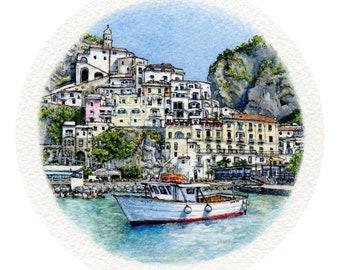 ORIGINAL Miniature Ink and Watercolour Painting - Amalfi Harbour (Campania, Italy)