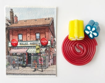 ORIGINAL Miniature Ink and Watercolour Painting - Symington & Wallace Ave, Toronto (Ontario, Canada)