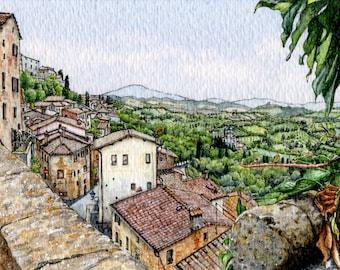 ORIGINAL Miniature Ink and Watercolour Painting - Montepulciano Vista (Tuscany, Italy)