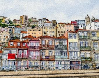 ORIGINAL Ink and Watercolour Painting - Miragaia Neighbourhood, Porto (Portugal)
