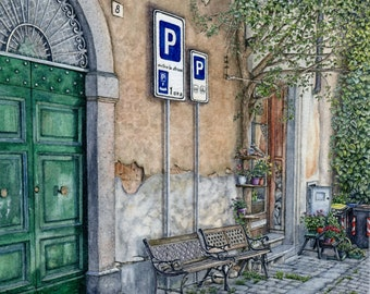 ORIGINAL Ink and Watercolour Painting - Parking In Orvieto (Umbria, Italy)