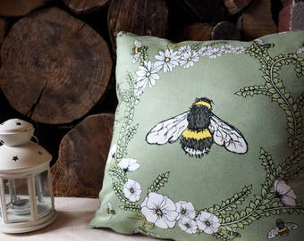 Bee Flower Garland Cushion