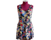 Vintage 40 39 s latex floral backless layered summer historical piece one piece swimmers swimsuit AUS 10 US 6 EU 38
