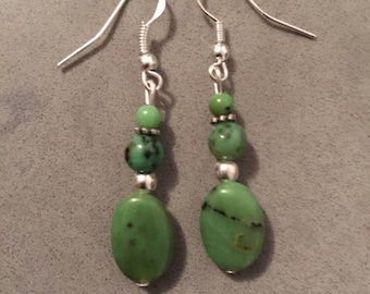 Chrysoprase and Sterling Silver 925 earrings