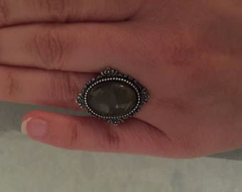 Smoky Quartz and antiqued silver ring