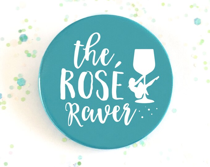 Wedding Favour Cocktail Collection Hen Party Badge The Ros\u00e9 Raver Bachelorette Badge Hen Night Turquoise
