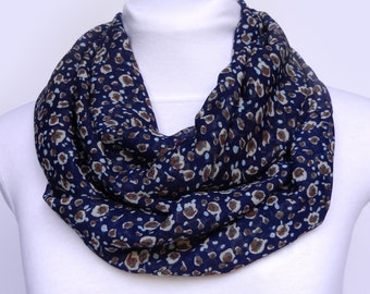 Navy Blue Scarf Scarves For Women Blue Summer Scarf Floral Scarf Wife Gift Scarf Printed Boho Scarf Womens Fall Scarf Blue Infinity Scarf