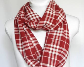 Red Plaid Scarf Women / Scarves For Women Plaid Fall Scarf / Red Infinity Scarf / Womens Fall Scarves / Plaid Scarf Infinity / Circle Scarf