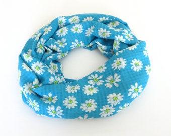 5b0b94d26bcb Marguerite Echarpe foulard d été bleu femmes infini foulard Daisy  impression léger foulards pour femme cadeau pour mère Floral printemps de  femmes foulard ...